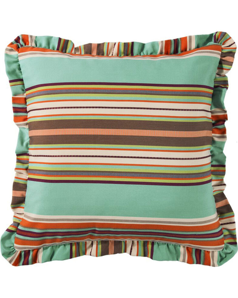 HiEnd Accents Turquoise Serape Ruffle Euro Sham , Turquoise, hi-res