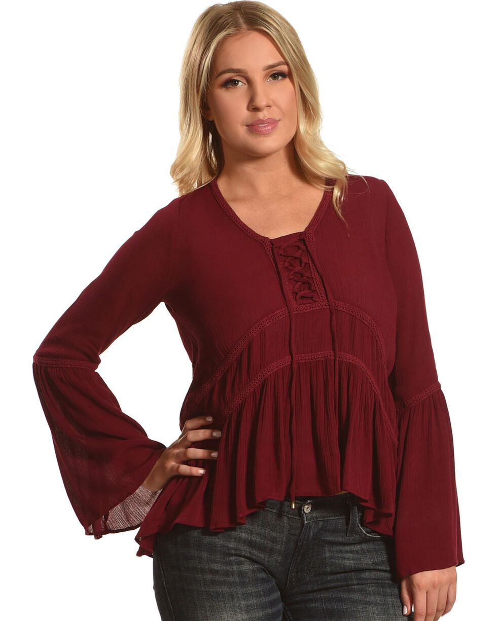 HYFVE Women's Lace-Up Bell Sleeve Peasant Top, , hi-res