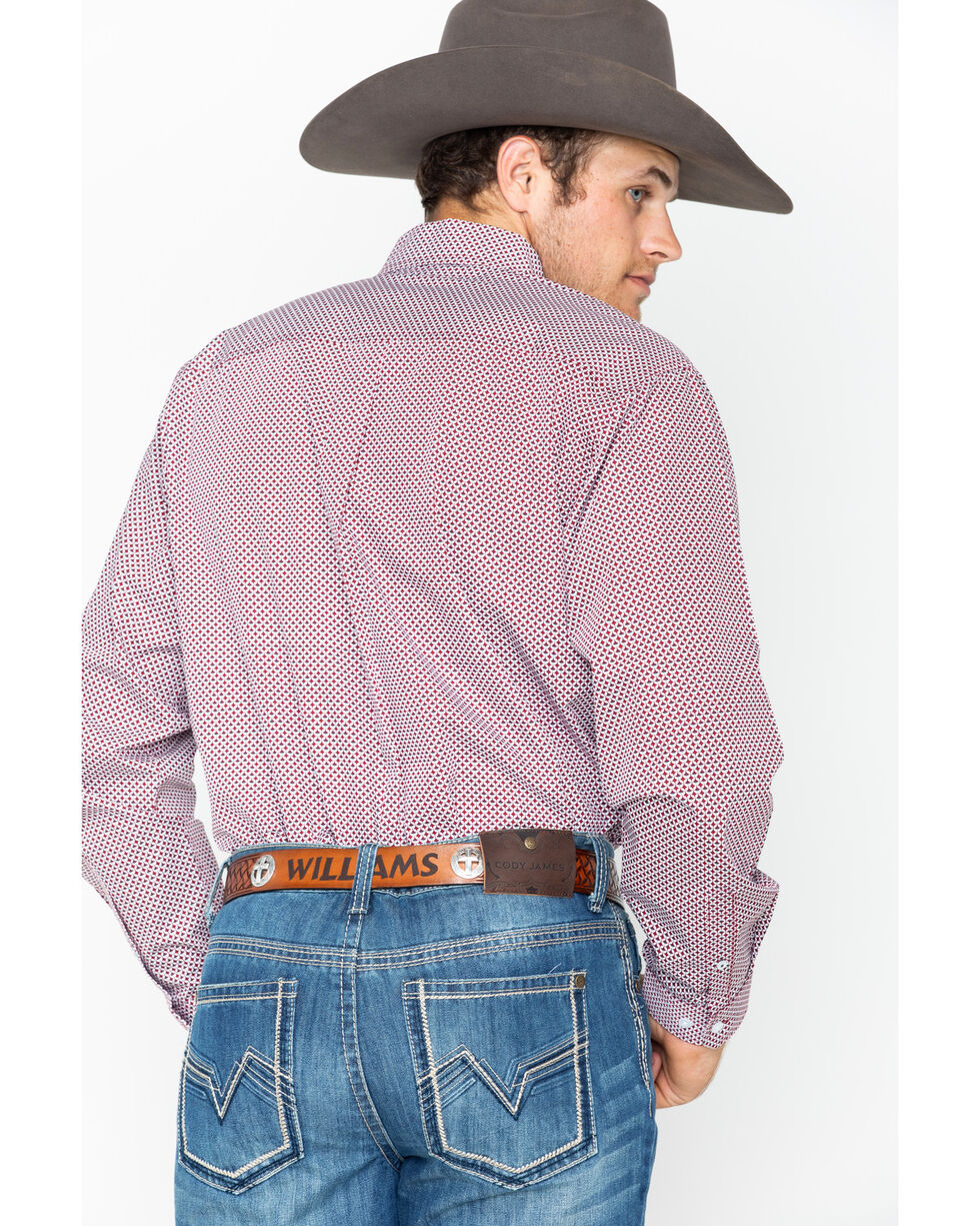 Cinch Men's Burgundy Long Sleeve Western Shirt , Burgundy, hi-res