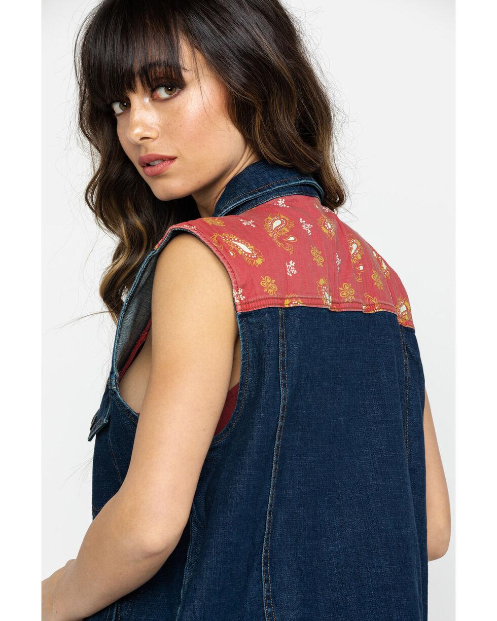 Wrangler Women's Denim Western Fashion Vest, Indigo, hi-res