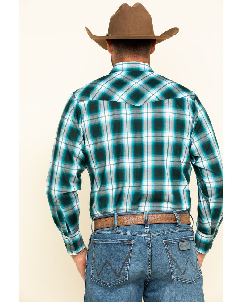 Ely Cattleman Men's Turquoise Plaid Long Sleeve Western Shirt , Turquoise, hi-res