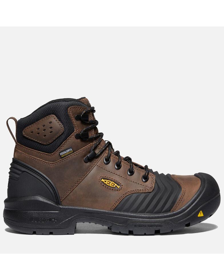 """Keen Men's Portland 6"""" Waterproof Work Boots - Carbon Toe, Dark Brown, hi-res"""