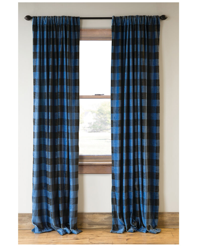 Carstens Home Wrangler Blue Lumberjack Buffalo Plaid Curtain Panels - Two Set , Blue, hi-res