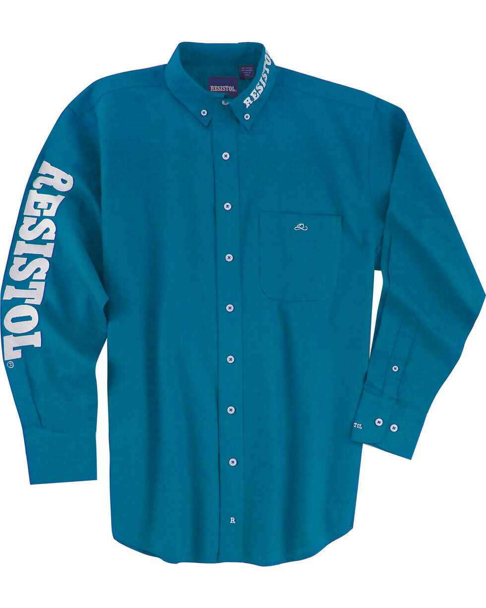 Resistol Men's Logo Long Sleeve Button Down Shirt, Turquoise, hi-res