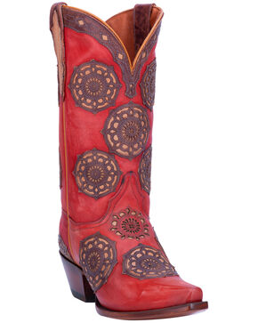 Dan Post Women's Circus Flower Western Boots - Snip Toe, Red, hi-res