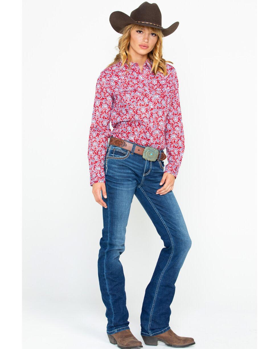 Wrangler Women's Paisley Core Snap Long Sleeve Western Shirt, Red, hi-res