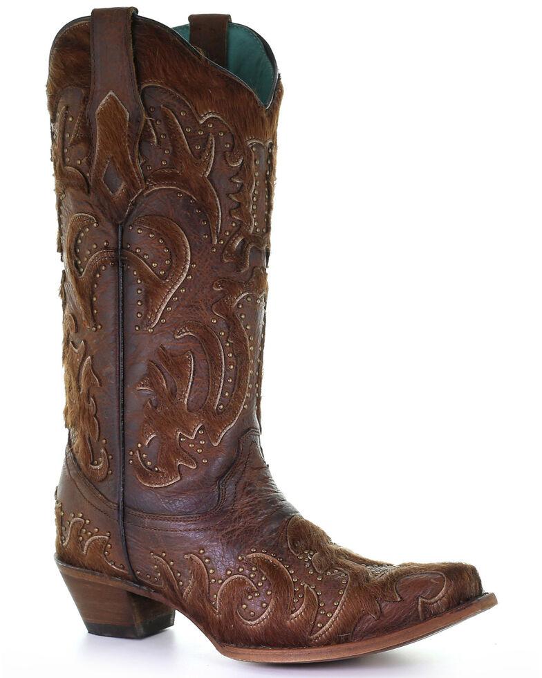 Corral Women's Brown Fur Western Boots - Snip Toe, Brown, hi-res