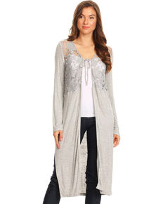 Young Essence Women's Long Sleeve Lace Detail Duster, Grey, hi-res