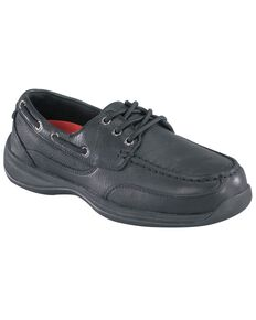 Rockport Works Sailing Club Black Boat Shoes - Steel Toe, Black, hi-res