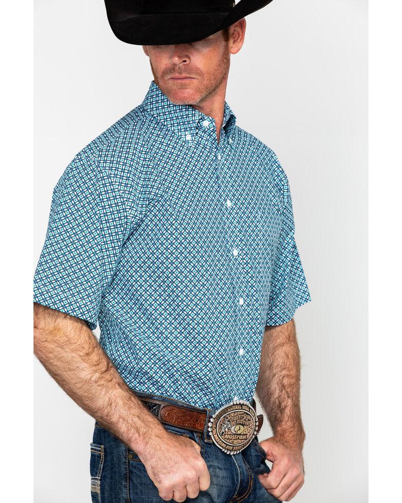 Tuf Cooper Men's Competition Poplin Short Sleeve Western Shirt , Blue, hi-res