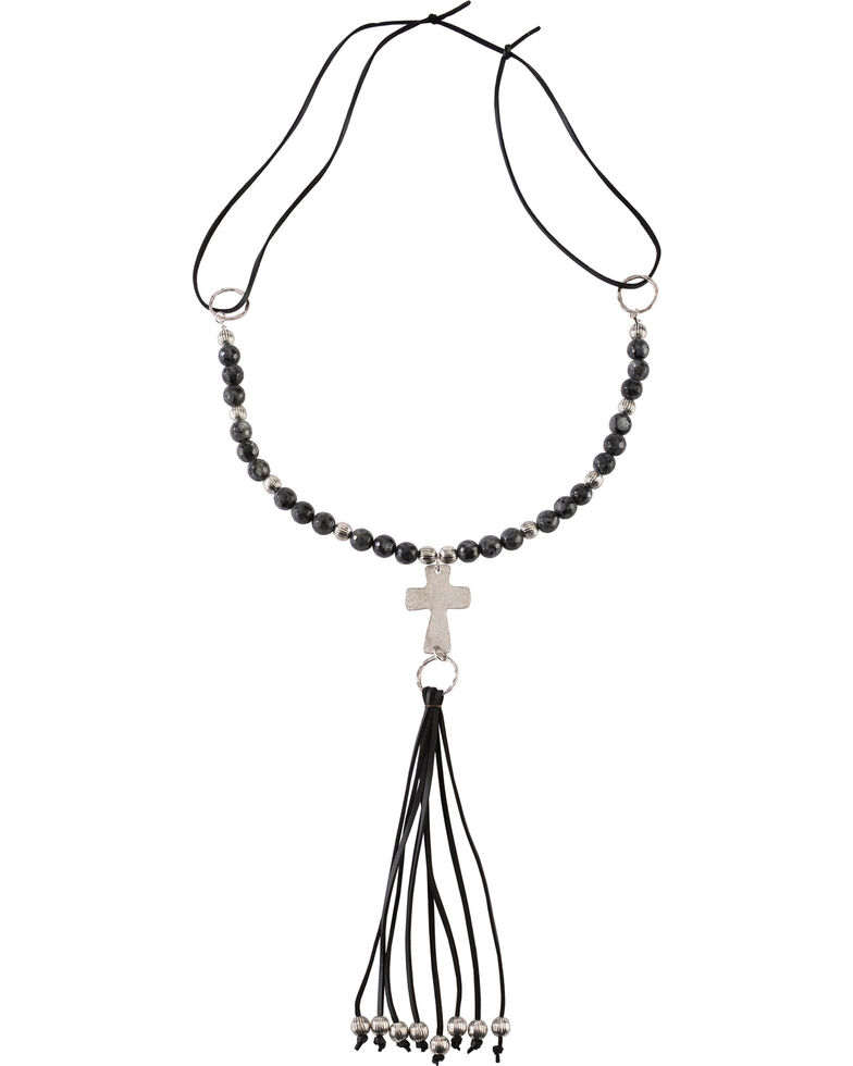 Jewelry Junkie Black Labradorite Beaded Necklace with Long Leather Fringe, Black, hi-res