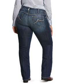 Ariat Women's R.E.A.L Dark Wash Brianne Straight Jeans - Plus, Blue, hi-res