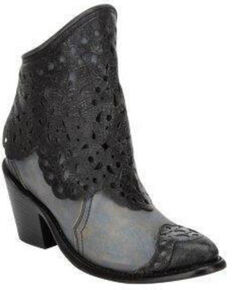 Corral Women's Blue Jean Cutout Shaft Western Fashion Booties - Round Toe , Blue, hi-res