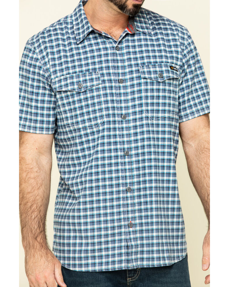 Hawx Men's Skyhawk Indigo Plaid Short Sleeve Work Shirt - Tall , Indigo, hi-res
