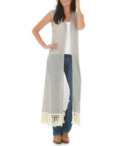 Wrangler Women's Sleeveless Crocheted Trim Fashion Duster, Tan, hi-res