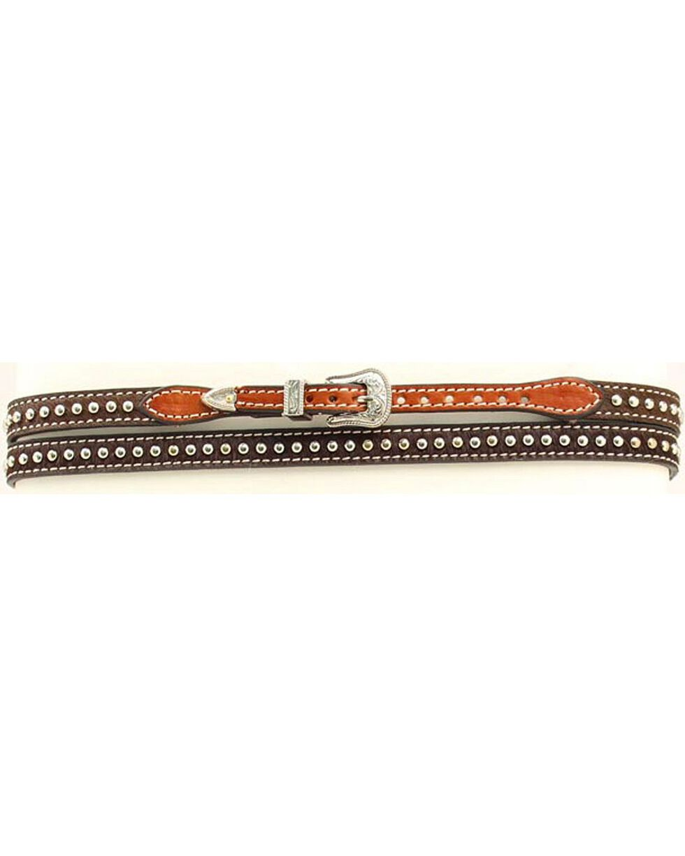 Brown Leather Studded Hat Band, , hi-res