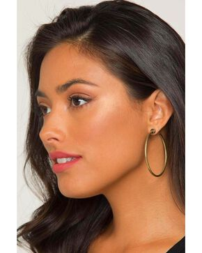 Idyllwind Women's Tex Trustie Brass Hoop Earrings , Gold, hi-res