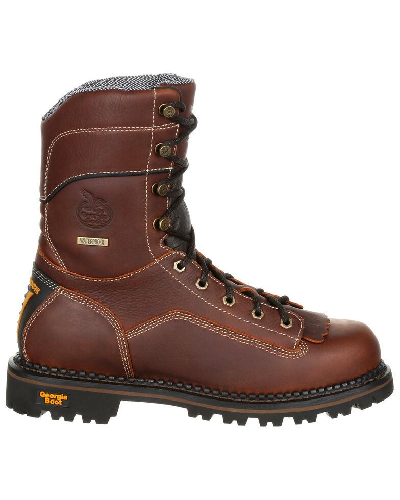 Georgia Boot Men's Amp LT Waterproof Low Heel Work Boots - Composite Toe, Brown, hi-res
