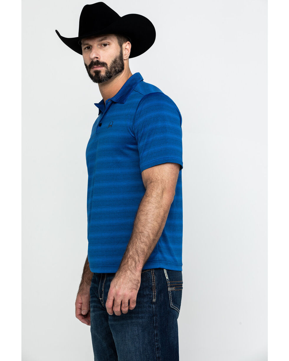 Cinch Men's Arena Flex Blue Striped Short Sleeve Polo Shirt , Blue, hi-res