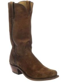 Lucchese Men's Livingston Cognac Suede Western Boots - Narrow Square Toe, Cognac, hi-res