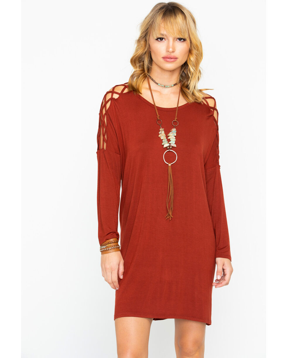 Panhandle Women's Frisscross Sleeve Inset Dress, Red, hi-res