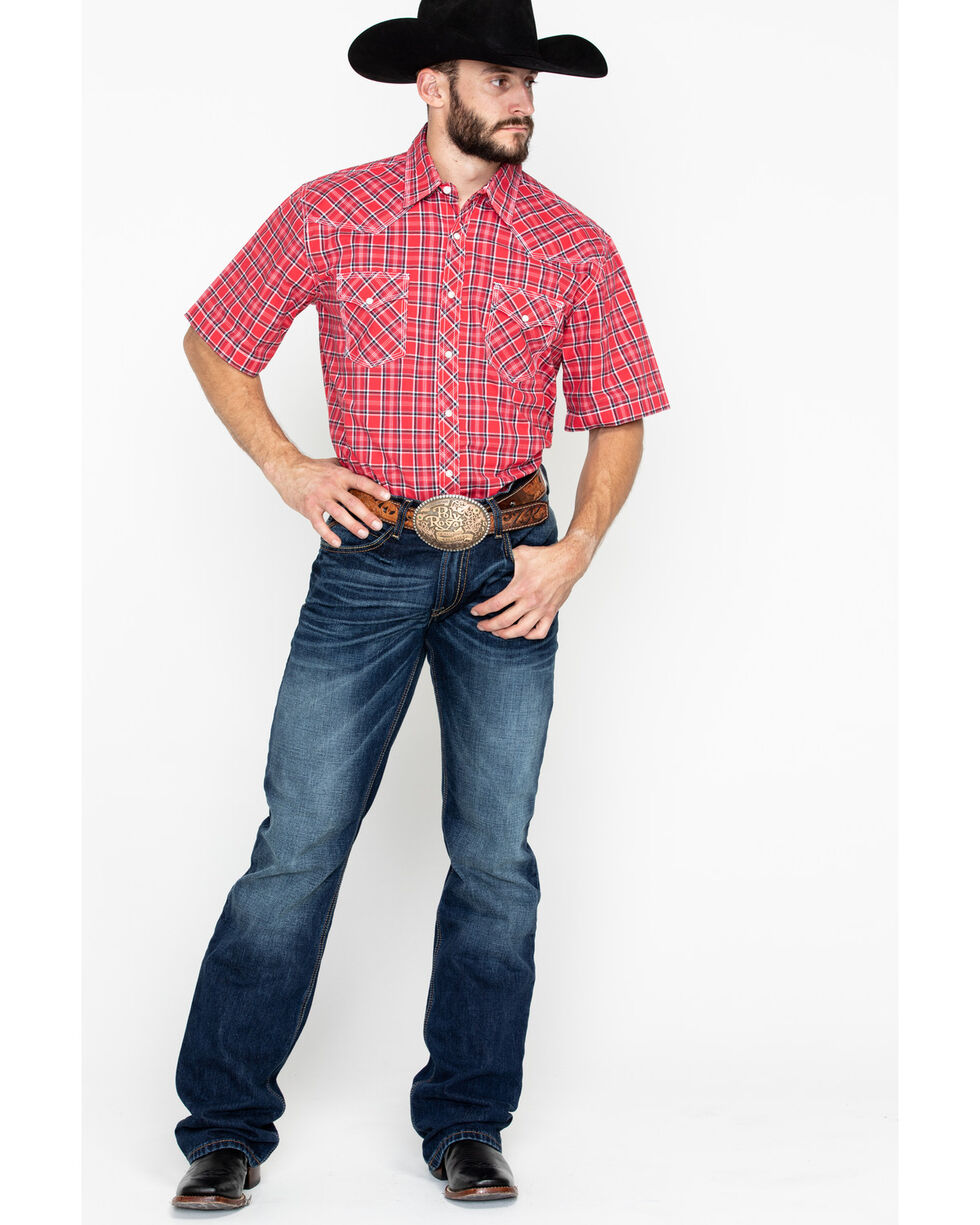 Wrangler 20X Men's Red Competition Advancaed Short Sleeve Western Shirt - Big & Tall, Black/red, hi-res