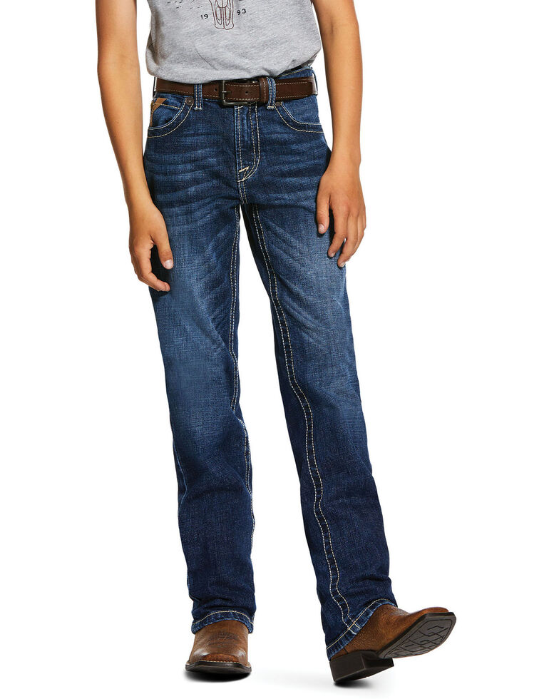 Ariat Boys' Wiley B5 Dark Stretch Slim Straight Jeans , Blue, hi-res