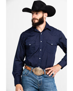 Roper Men's Blue Dot Geo Print Long Sleeve Western Shirt , Blue, hi-res