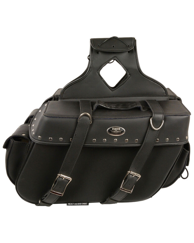 Milwaukee Leather Large Zip-Off Throw Over Riveted Saddle Bag, Black, hi-res