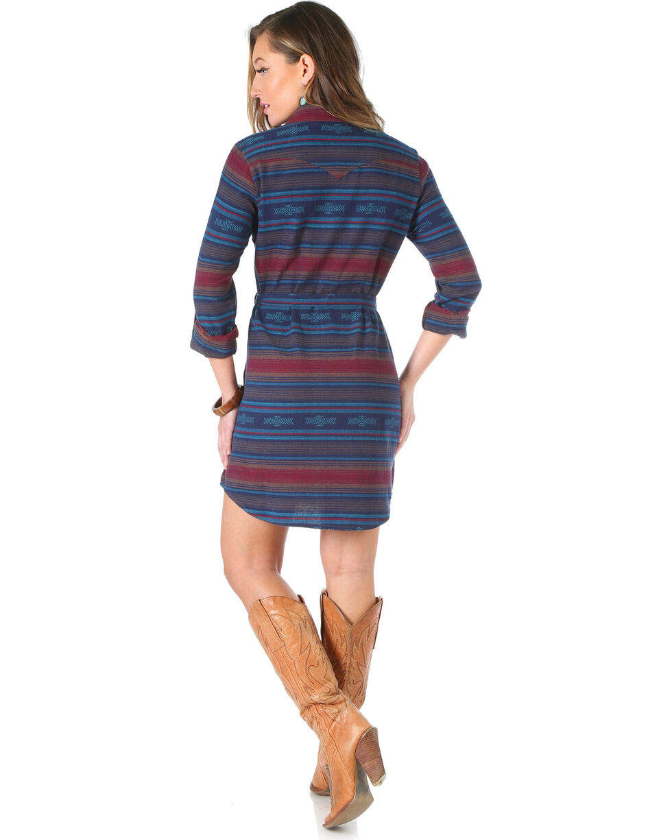 Wrangler Women's Aztec Flannel Shirt Dress, , hi-res