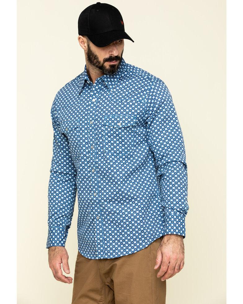 Rock & Roll Cowboy Men's FR Printed Medallion Twill Long Sleeve Work Shirt , Blue, hi-res