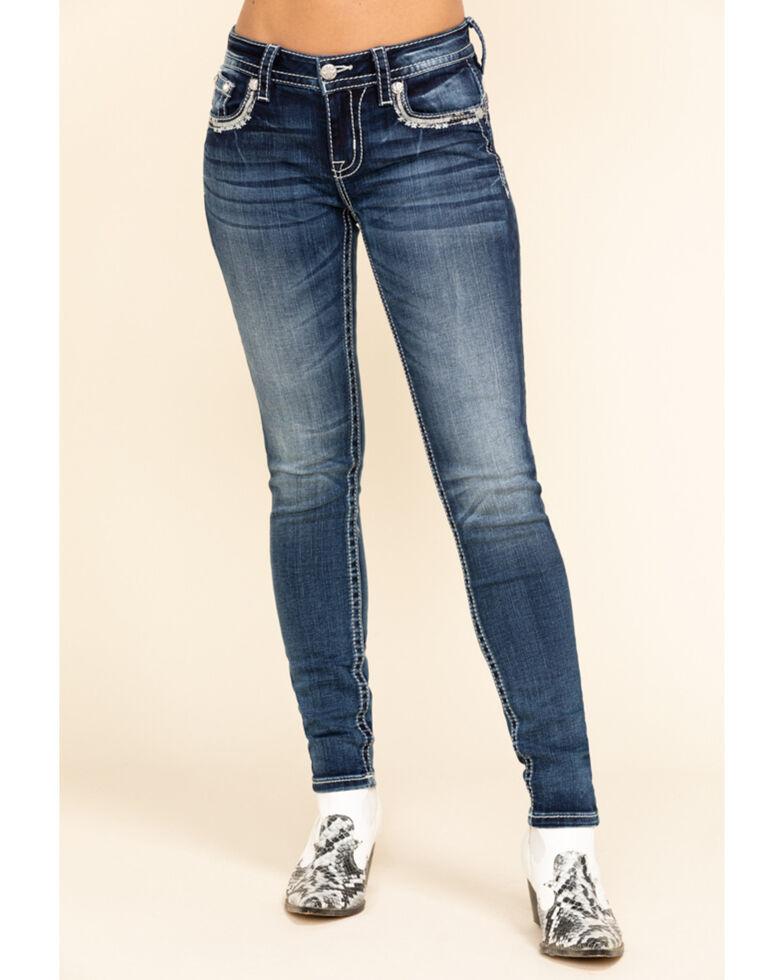 Miss Me Women's Medium Faux Flap Border Hailey Skinny Jeans, Blue, hi-res