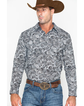 Cody James Men's Cauldron Floral Print Long Sleeve Western Shirt , White, hi-res