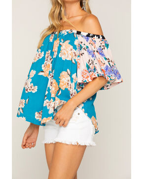 Shyanne Women's Mixed Floral Print Off-The-Shoulder Top, Multi, hi-res