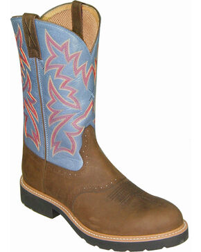 Twisted X Men's Round Toe Pull-On Work Boots, Brown, hi-res