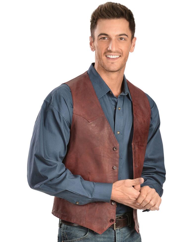 Scully Lamb Leather Vest, Black Cherry, hi-res