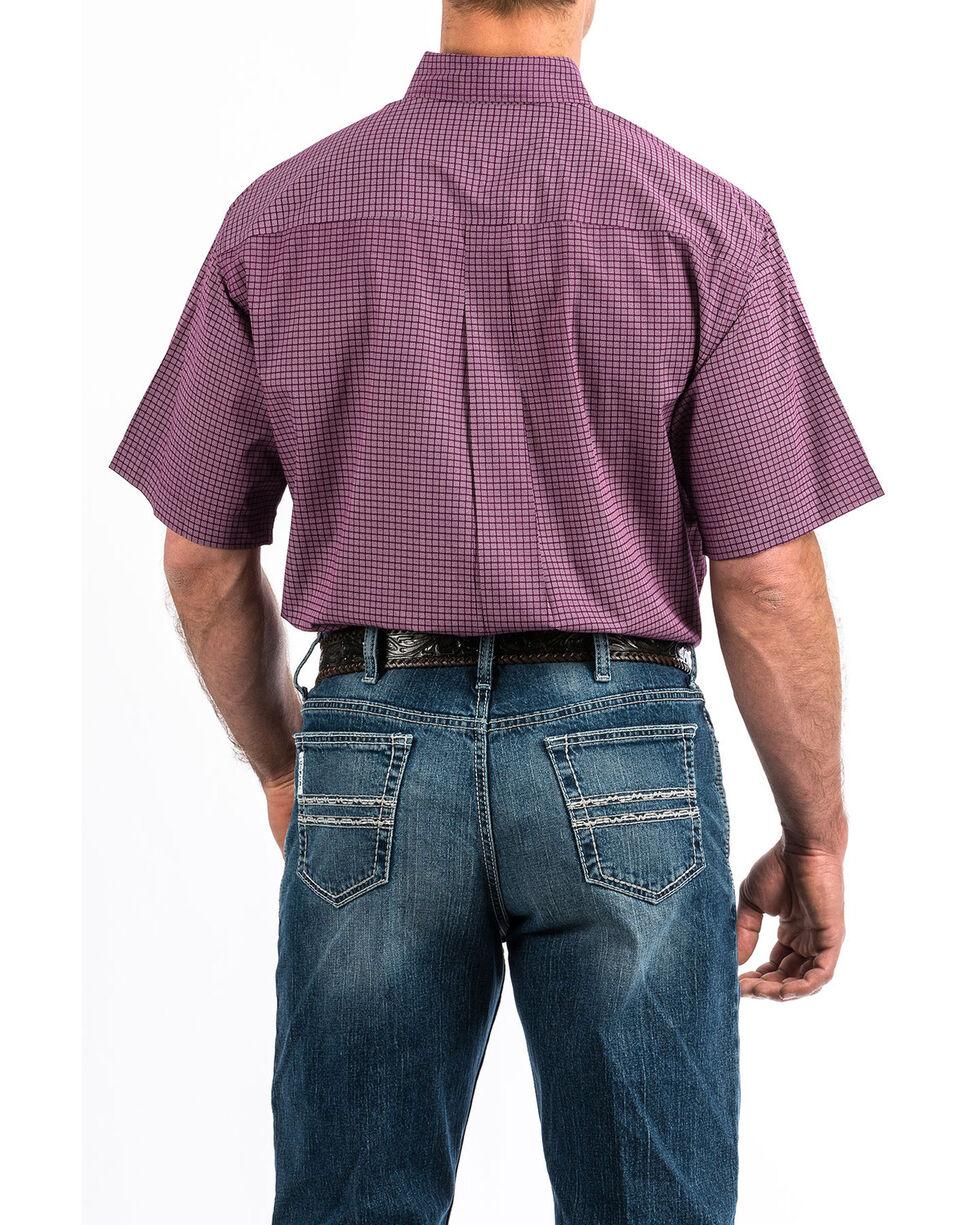 Cinch Men's Purple Check Print Button Short Sleeve Western Shirt - Big , Purple, hi-res