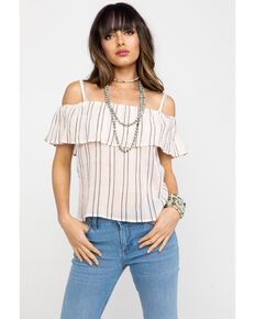 57b2def74cf07 Shyanne Women s Striped Cold Shoulder Top