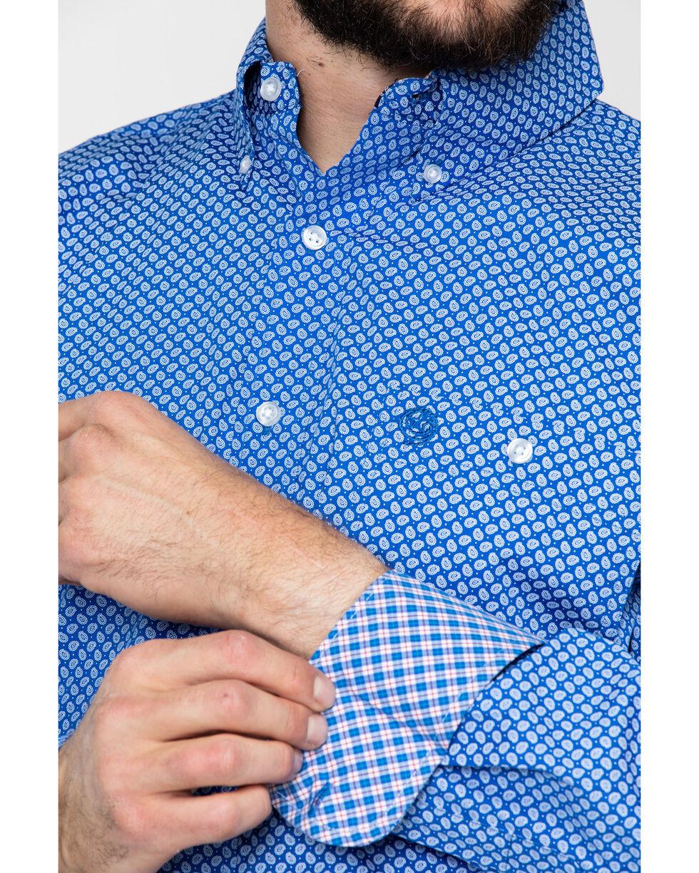 George Strait by Wrangler Men's Blue Paisley Geo Print Long Sleeve Western Shirt - Big & Tall, Blue/white, hi-res