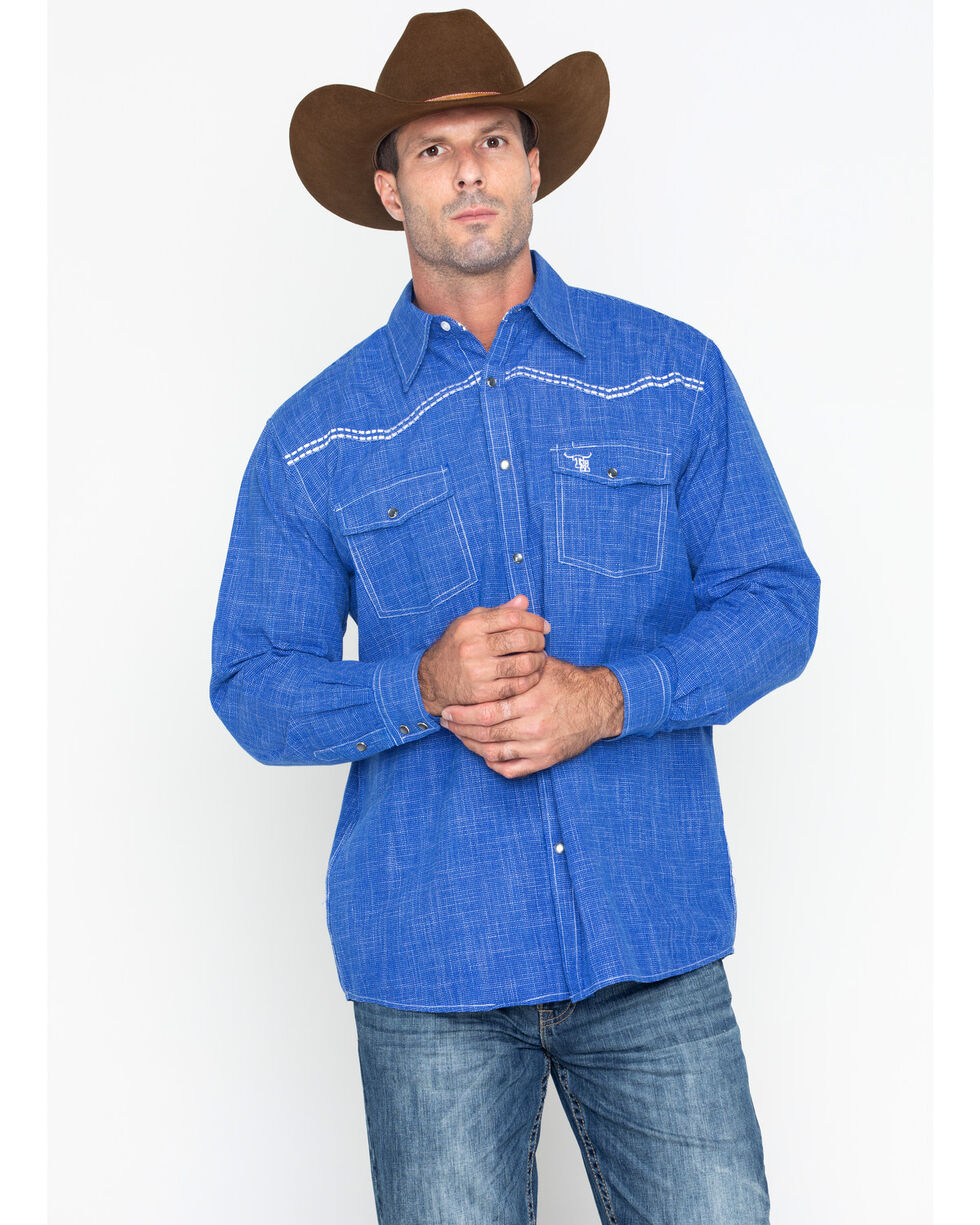 Cowboy Hardware Men's  Burlap Print Long Sleeve Shirt , Royal Blue, hi-res