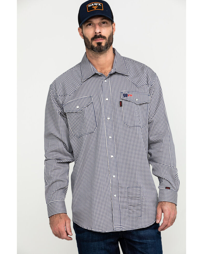 Cinch Men's FR Lightweight Check Print Long Sleeve Work Shirt , Black, hi-res
