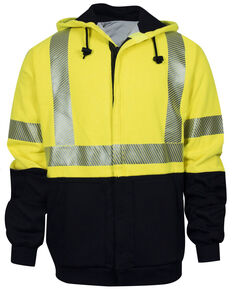 National Safety Apparel Men's 2X-3X FR Hi-Vis Hybrid Zip Front Hooded Work Jacket - Tall, Bright Yellow, hi-res