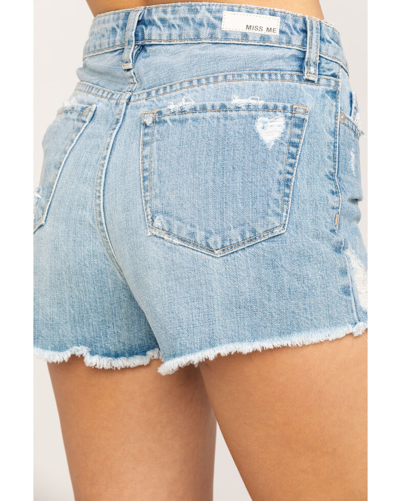 Miss Me Women's Button Clean Cutoff Shorts, Blue, hi-res