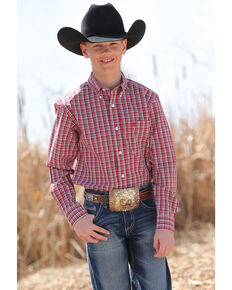 Cinch Boys' Small Check Plaid Long Sleeve Western Shirt , Red, hi-res