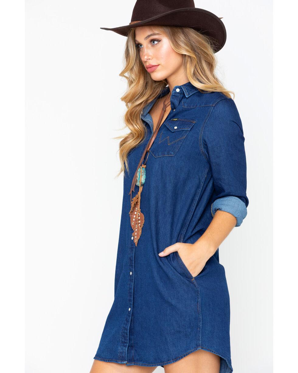 Wrangler Women's Modern Born Ready Western Snap Denim Dress, Dark Blue, hi-res