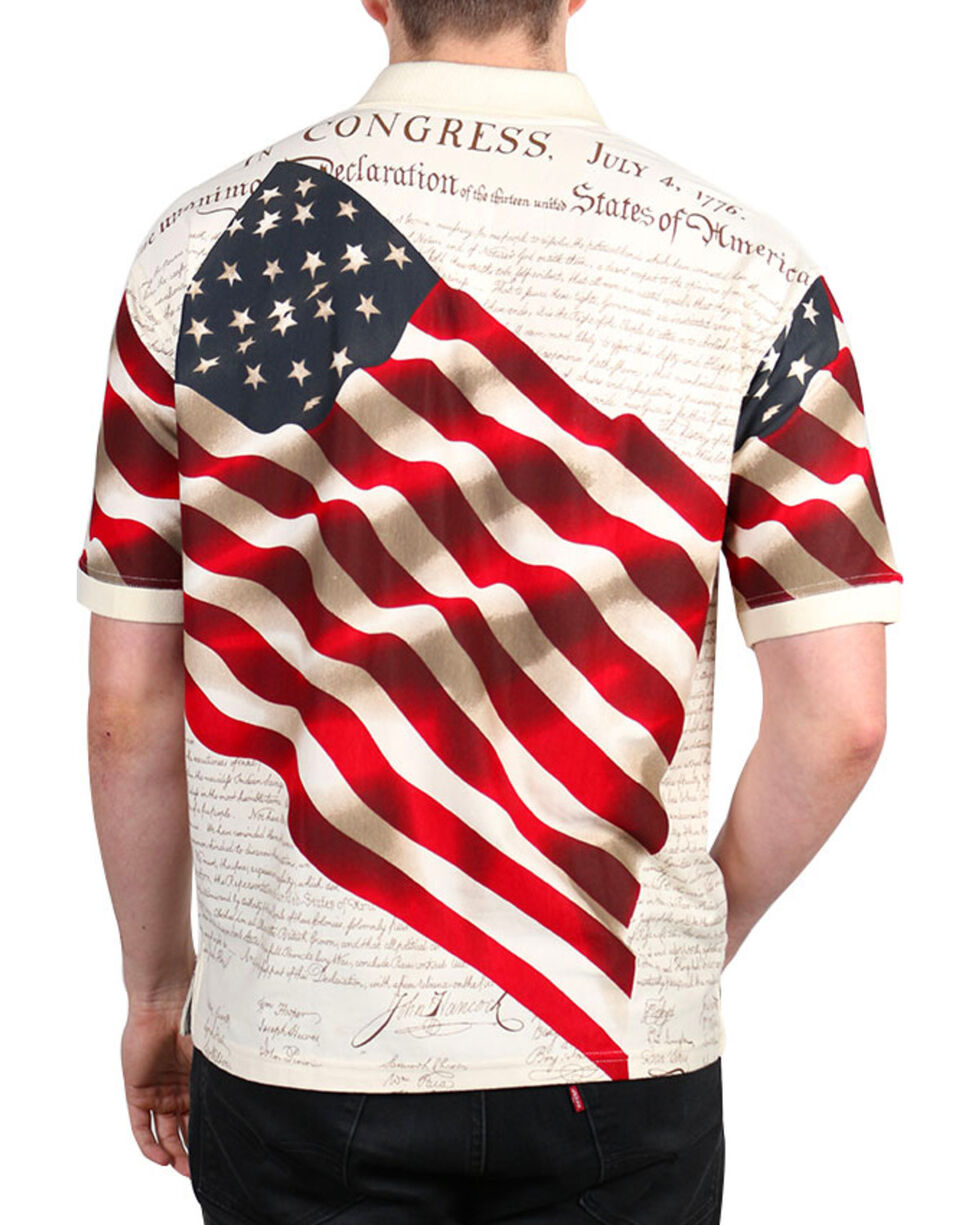 Cody James® Men's Independence Short Sleeve Polo Shirt, Cream, hi-res