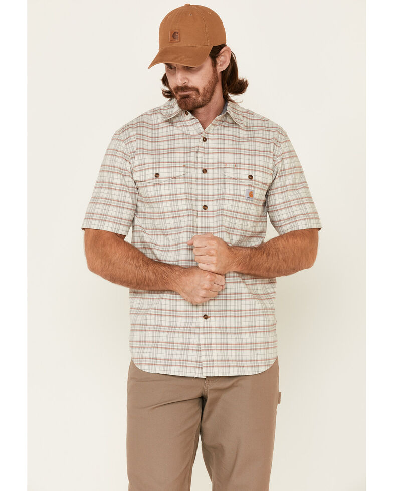 Carhartt Men's Light Yellow Plaid Rugged Flex Short Sleeve Button-Down Work Shirt , Light Yellow, hi-res