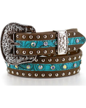Angel Ranch Girls' Rhinestone & Stud Filigree Belt , Brown, hi-res