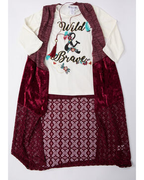 Shyanne Girls' Crushed Velvet Vest Long Sleeve Graphic Top Set , Burgundy, hi-res