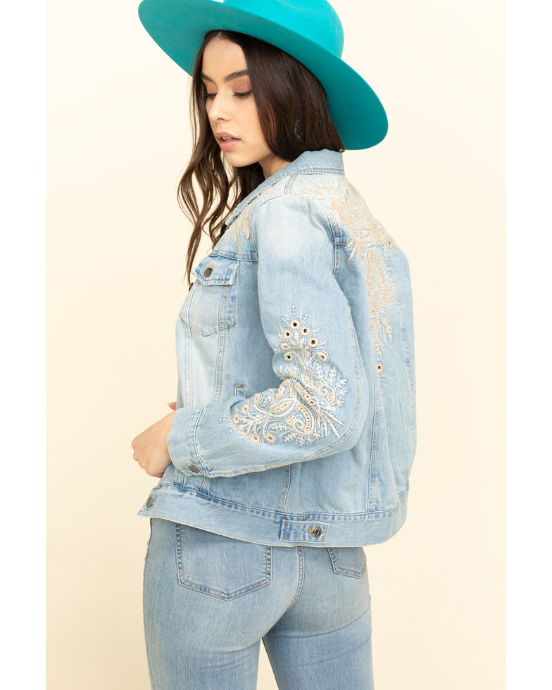 Johnny Was Women's Embroidered Iva Denim Jacket, Blue, hi-res
